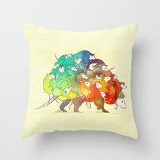 Opossum Rainbow Babies Throw Pillow
