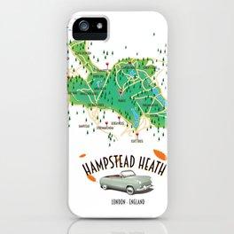 Hampstead Heath London England map. iPhone Case