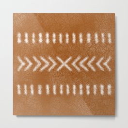 Minimalist Tribal Pattern in burnt orange Metal Print