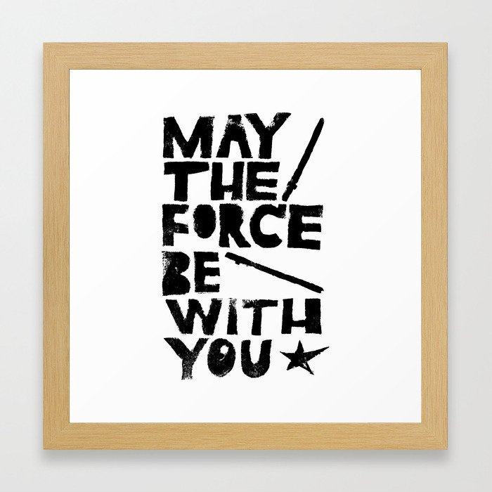 May the Force be with You - Linocut Star Wars Movie Poster Framed ...