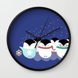 Little Penguins Wall Clock