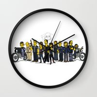 sons of anarchy Wall Clocks featuring Sons Of Anarchy cast by Adrien ADN Noterdaem