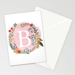 Flower Wreath with Personalized Monogram Initial Letter B on Pink Watercolor Paper Texture Artwork Stationery Cards