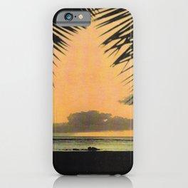 Waikiki Beach Sunset Through the Coconut Trees iPhone Case