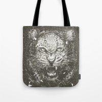 leopard Tote Bags featuring LEOPARD by Stefania Grippaldi - IDEAS FLY studio