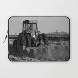 Black & White Harvesting Equipment Pencil Drawing Photo Laptop Sleeve