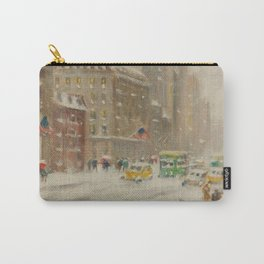 Fifth Avenue, Snowstorm, New York City landscape painting by Guy Carlton Wiggins Carry-All Pouch