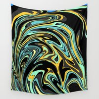 oil Wall Tapestries featuring Oil Spill by Jessielee