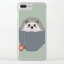 Holiday Tea Cup Hedgehog Clear iPhone Case