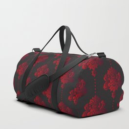 Red damask flowers and pearls on dark background Duffle Bag