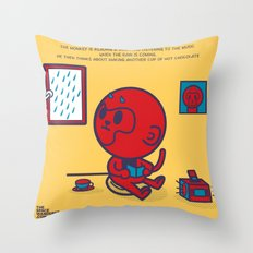 The Monkey and the Rain Throw Pillow