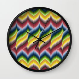 Bargello Quilt Pattern Impression 3 - red, blue, green, gold, ombre Wall Clock