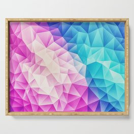Pink - Ice Blue / Abstract Polygon Crystal Cubism Low Poly Triangle Design Serving Tray