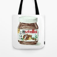 nutella Tote Bags featuring Nutella by Owl Feather Studio