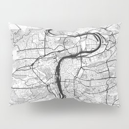 Prague Map Gray Pillow Sham