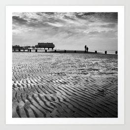 Couple on Cleethorpes Beach Art Print
