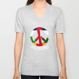 Central African Republic Peace Sign Unisex V-Neck