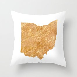 Gold Ohio Throw Pillow