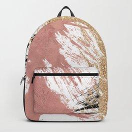 Giant Artsy Brushstrokes in Gold Rose Gold Glitter Backpack