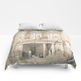 Vintage Illustration of Petra (1849) Comforters