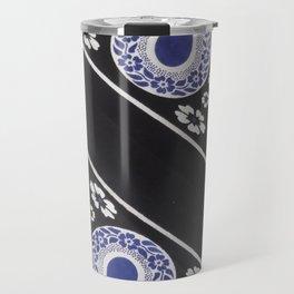 Black and Blue Tanzanian Fabric 2 Travel Mug