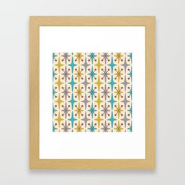 Mid Century Modern Abstract Star Pattern 441 Gray Brown Turquoise Olive Green Framed Art Print