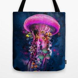 Pink Electric Jellyfish Tote Bag