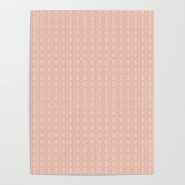 Peach and Silver Tile Square Pattern Poster