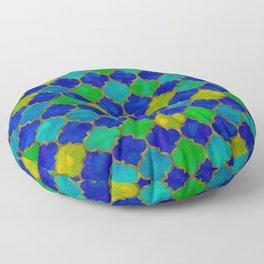 Ocean Breeze -Watercolor Moroccan Lattice Floor Pillow