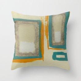 Soft And Bold Rothko Inspired - Modern Art - Teal Blue Orange Beige Throw Pillow