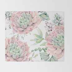 Pink Succulents by Nature Magick Throw Blanket