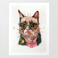 grumpy Art Prints featuring grumpy by Becca Kallem