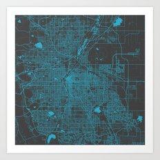 Denver blue map Art Print