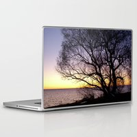 sweden Laptop & iPad Skins featuring Sunset at Lomma, Sweden  by Sarah Osterman