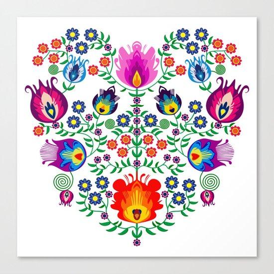 Folk Pattern - Flower Canvas Print