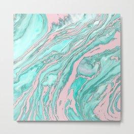 Girly Modern Pink Teal Green Smoky Marble Pattern Metal Print