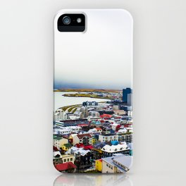 Rainbow Roofs and Buildings of Reykjavik Iceland iPhone Case