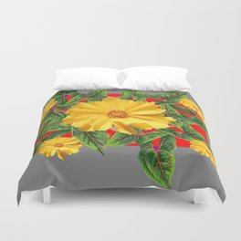 GREY & RED YELLOW COREOPSIS FLORAL ART DESIGN Duvet Cover