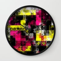 contemporary Wall Clocks featuring Contemporary Geometric by Idle Amusement