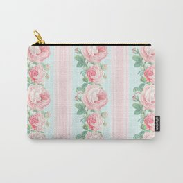Shabby chic roses pink mint Carry-All Pouch