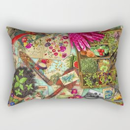 A Vintage Garden Rectangular Pillow