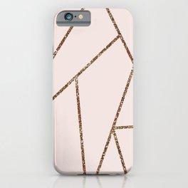 Blush Pink & Rose Gold Geometric Lines iPhone Case