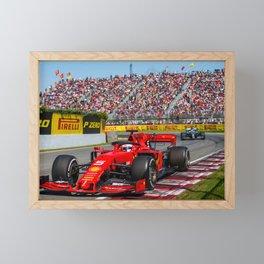 Sebastian Vettel racing in the 2019 Australian Grand Prix Framed Mini Art Print