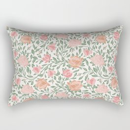 Gentle roses with green leaves on light background Rectangular Pillow