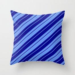 Cornflower Blue & Dark Blue Colored Lined Pattern Throw Pillow