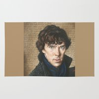sherlock Area & Throw Rugs featuring Sherlock by Saoirse Mc Dermott