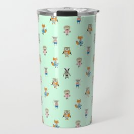 Forest Friends Woodland Animals Water Colors in Mint Green Travel Mug