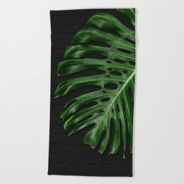 Monstera on Black Brick Beach Towel