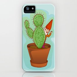 fairytale dwarf with cactus iPhone Case