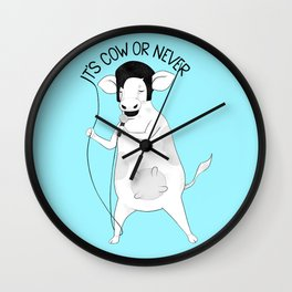 Cow singing Elvis Presley | Animal Karaoke | Illustration | Blue Wall Clock